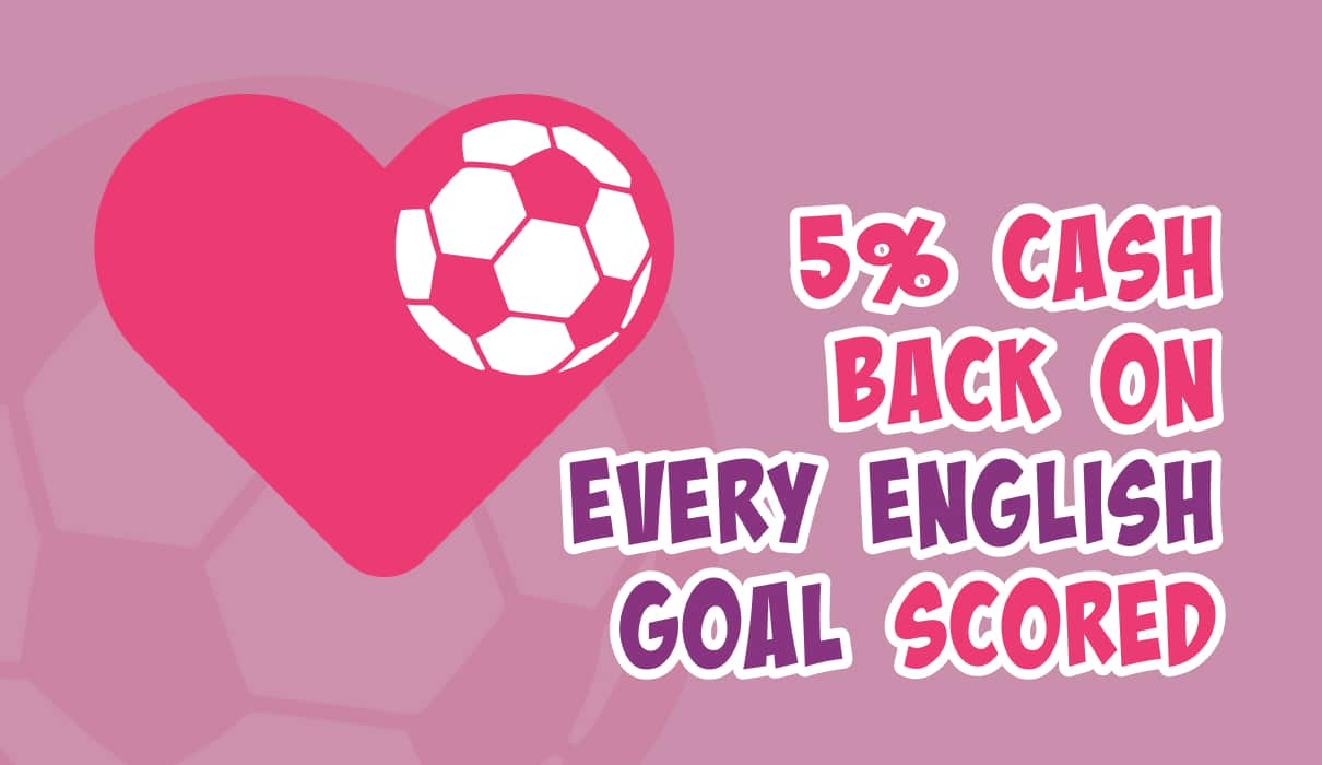 5% Cash Back up to £10 for every goal scored by the English national team. Let's play and support the team!